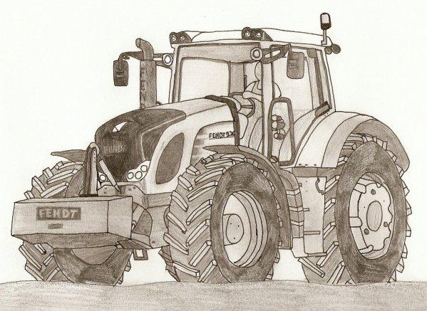 Dessin au crayon de papier d 39 un fendt 936 blog de farmer 51 - Coloriage tracteur claas ...