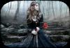 pensive  en noir et une jolie  rose rouge
