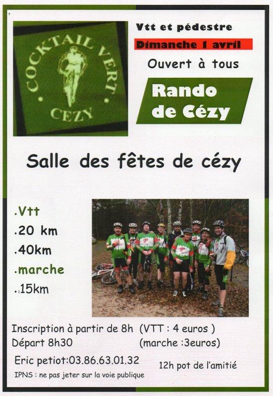 01 Avril 2012 Randonnée VTT Cézy