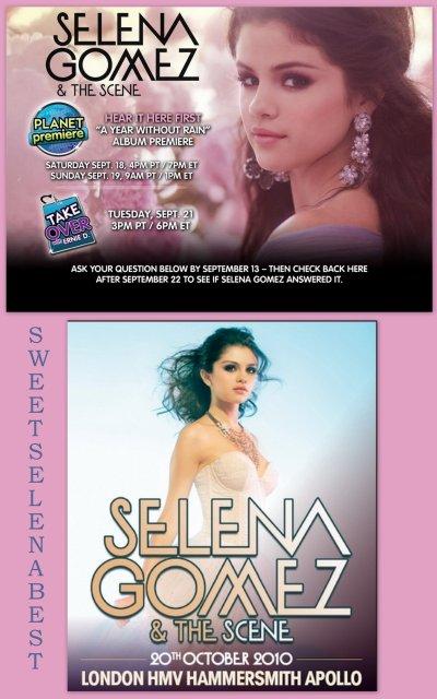 """AYWR album Premiere sur """"Planete Premiere"""", les 18 et 19 sept. & Poster de Selena pour le concert à Londres, le 20 octobre"""