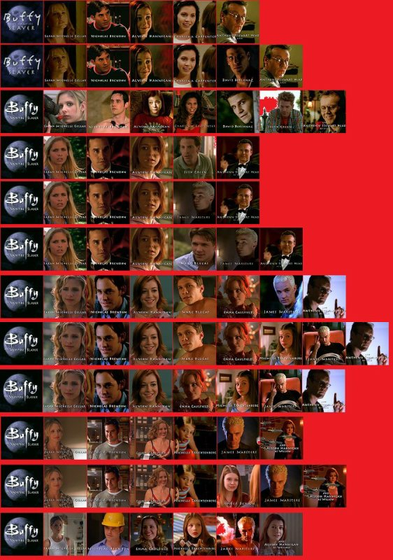 Buffy contre les vampire les personne principal  du générique des saison 1 a 7