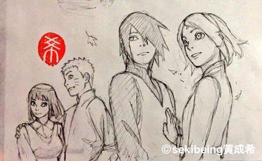 Sasusaku & NaruHina sketch de Sekibeing 😍