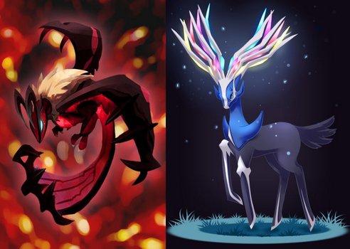 Les types relevés des deux pokemon légendaires : Yvetal & Xerneas.