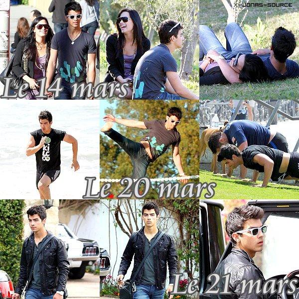 Joe Jonas Le 14 mars: Joe et Demi Lovato se baladent en Amoureux  Le 20 mars: Joe s'entraîne avec Joey Rubino à Los Angeles  Le 21 mars : Joe était à Toluca Lake pour rendre visite à sa famille