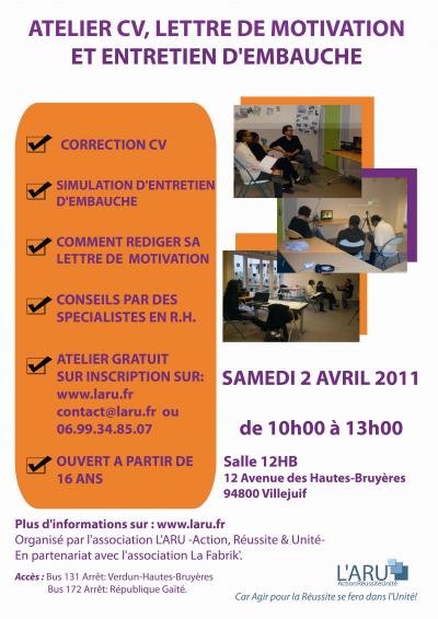 Atelier CV, Lettre de motivation & Entretien d'embauche : Samedi 2 Avril 2011!!!
