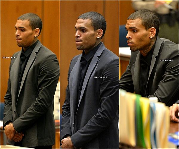 . 15 JUIL. : Chris était au tribunal de Los Angeles pour deux affaires différentes, celle datant de 2009 (violences aggravées sur Rihanna) et celle datant de mai dernier concernant un accident de voiture. Il est accusé de délit de fuite ce qui est totalement faux puisqu'il y a des photos qui stipulent qu'il a bel et bien établit un constat avec la propriétaire du véhicule accidenté. De plus, pour cette accusation, Chris risque jusqu'à 4 ans de prison puisqu'il est encore en liberté conditionnelle pour les faits qui ont eu lieu en 2009. Retrouvez le compte-rendu de l'audience ici.  -