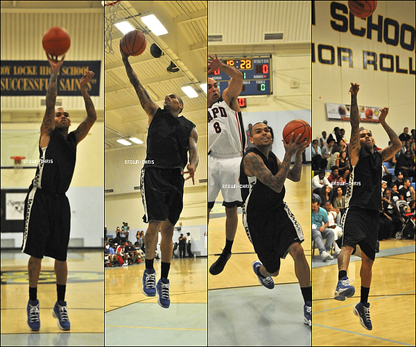 . 11 AOUT. : Chris au tournois de basket caritatif qu'il a organisé opposant Chris Brown et son équipe à la police départementale de Los Angeles (LAPD) ! (Los Angeles)  -