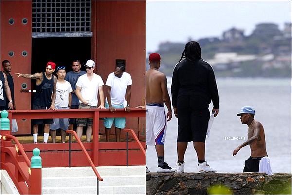 """. 27 AOUT. : Chris & Karrueche Tran sur le tournage de """"Autumn Leaves"""" (ft. Kendrick Lamar). On sait déjà que le clip abordera les arts martiaux et qu'il y aura un thème tout à fait asiatique. (Hawaï)QU'EN PENSEZ-VOUS ? -"""