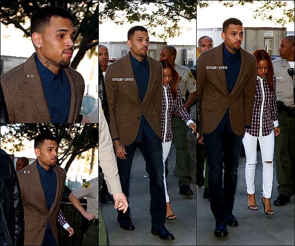 . 3 FEV. : Chris a été aperçu arrivant au tribunal de Los Angeles accompagné de Karrueche Tran.  -