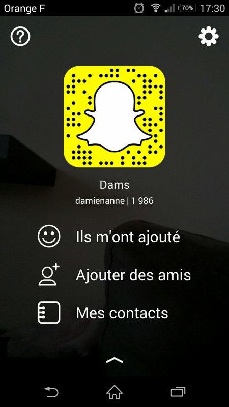 Si tu veux me suivre sur Snapchat
