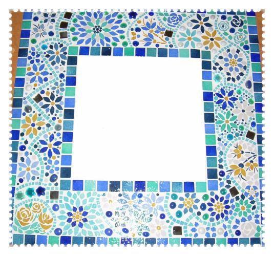 Miroir Mosaïque - Emaux de Briare- Miroir Mille Fleurs Bleues.