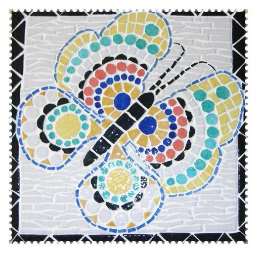 Mosaïque - Papillon multicolore