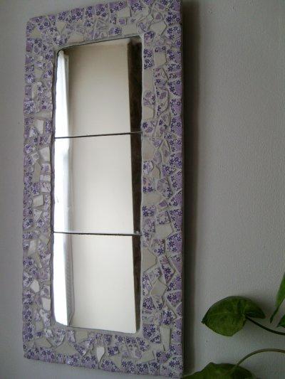 Miroir Picassiette Fleurs Lilas