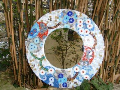 Miroir Mosaïque - Pâte de Verre « Semis de fleurs »