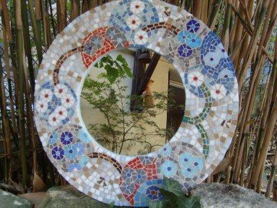 Miroir Mosaïque « Semis de fleurs »-Pâte de Verre