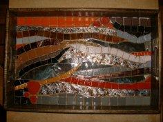 PLATEAU Mosaique : Pâte de verre-Briare-Galet Japonais-Verre