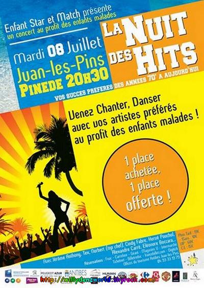 """Willy Denzey à Juan-Les-Pins pour """"Enfant Star et Match"""", concert pour les enfants malades le Mardi 08 Juillet 2014 à 20h30"""