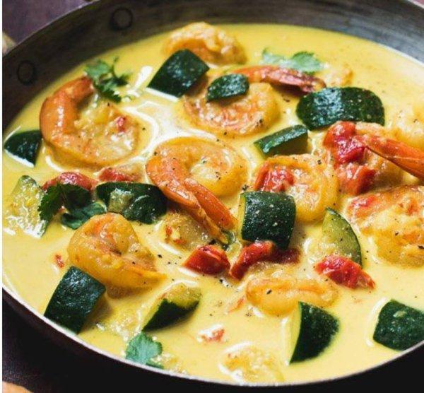 curry de courgettes et de crevettes au lait de coco