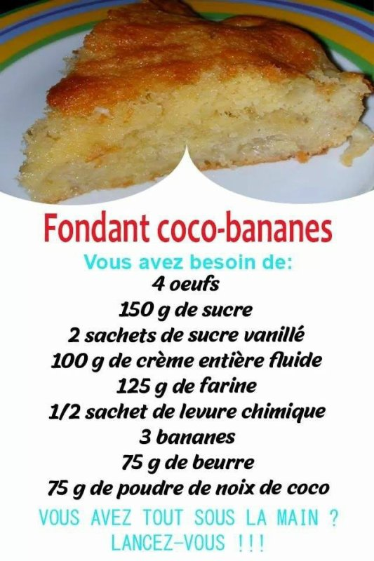 fondant coco bananes