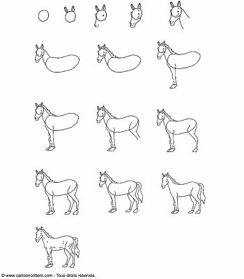 Apprendre a dessiner un cheval blog de apprendre a - Cheval a dessiner facile ...