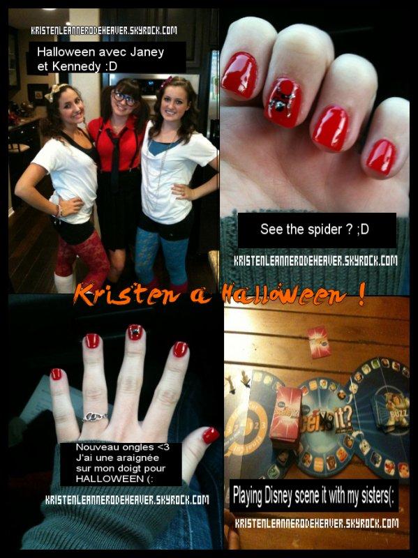. . Photo de Kristen à Halloween ;D Elle nous parle de ses nouveaux ongles, - l'un d'eux à un araignée ;) - + sur une photo, on peut voir sa tenue, et aussi les amies avec qui elle l'a fait  ;D et pour finir, une photo de son jeu de société ( avec qui elle a joué avec ses soeurs ^^ ). . Kristen et Chaz sortent ensemble ! Ca a été confirmé par les deux apparemment ;D Alors, contents ou pas ? ( merci Meg ;D ) . .
