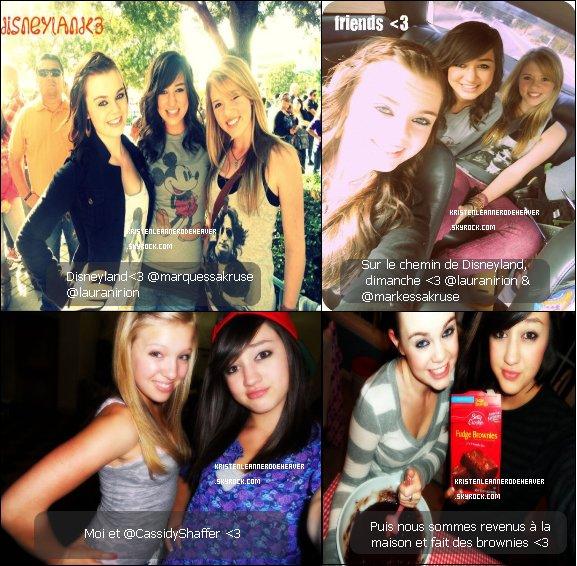 . .  Kristen à Disneyland avec Lauran Irion et Markessa Kruse, et des photos de sa soirée avec Markessa. . .