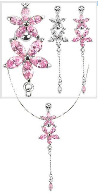 Piercing nombril chaîne de taille double Fleur cristal