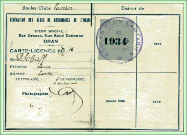 LAMTAR : CARTE-LICENCE N°16 du Boules Club Lamtariens