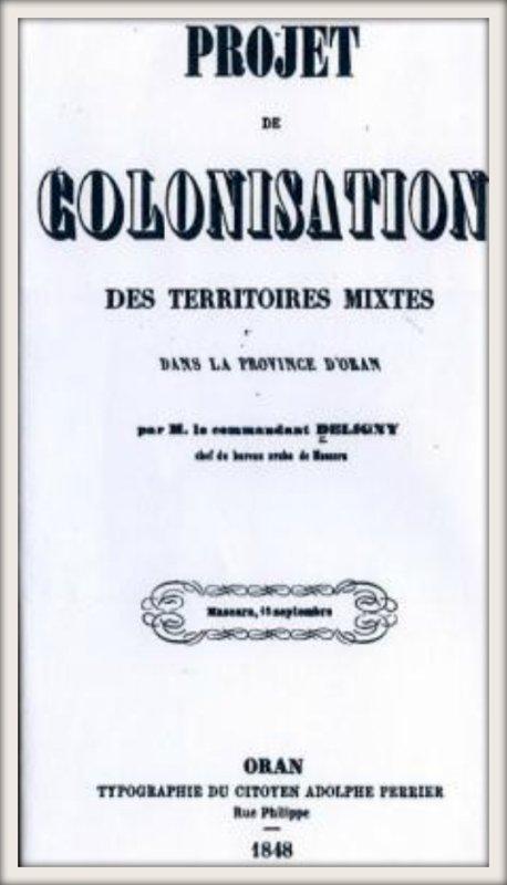 LAMTAR : PROJET DE COLONISATION des territoires mixtes dans la province d'Oran 1848
