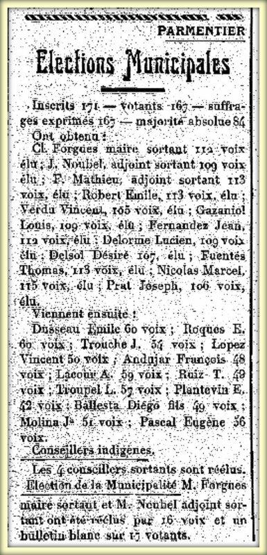 PARMENTIER : Elections en 1929
