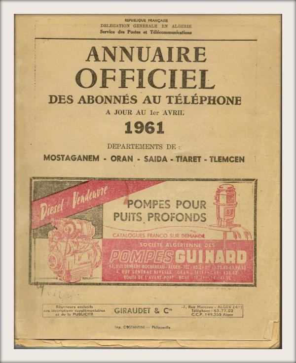 Annuaire officiel des abonnés au téléphone à jour 1er avril 1961