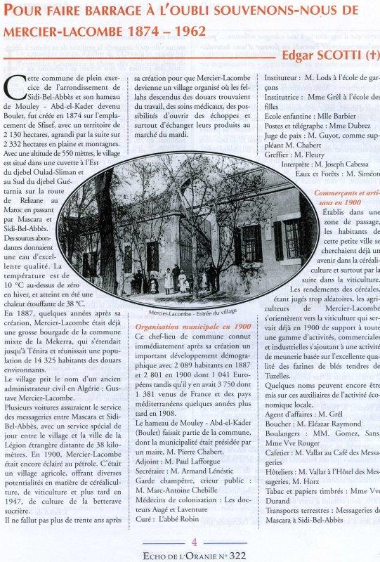MERCIER LACOMBE : Photos dénichées sur l'Écho de l'Oranie