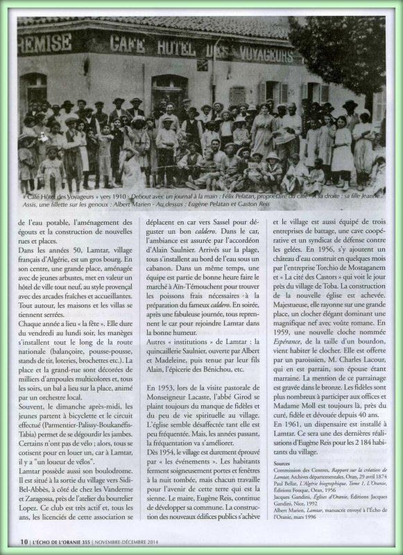 ECHO DE L'ORANIE N° 355 Novembre-Décembre 2014