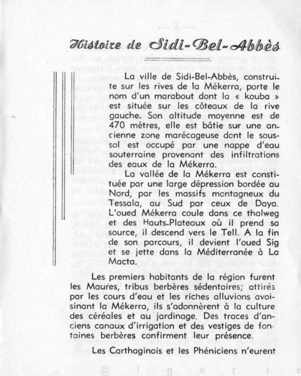 SIDI BEL ABBES : Document