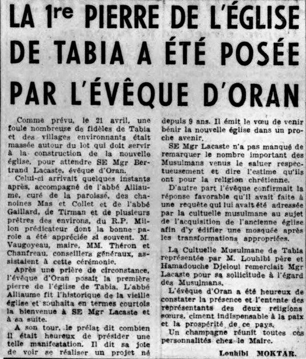 TABIA : Inauguration de l'église en 1956