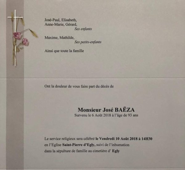 LAMTAR : Décès de M. José BAËZA