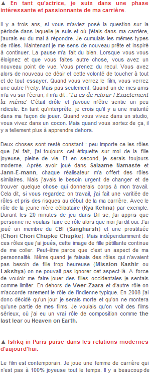 28-PREITY ZINTA EST DE RETOUR AVEC ISHKQ IN PARIS ! MAI-ARTICLE PAR MANJUSHA RADHAKRISHNAN DE GULFNEWS ; TRADUIT PAR PREITY-SOURCE ;