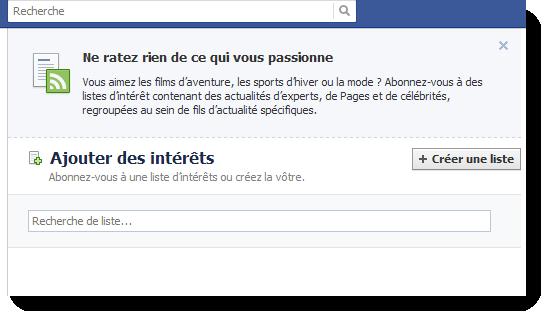 """Les """"listes d'intérêts"""" arrivent sur Facebook"""