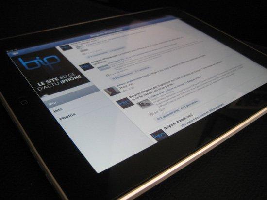 Facebook adapté à l'écran Retina du nouvel iPad