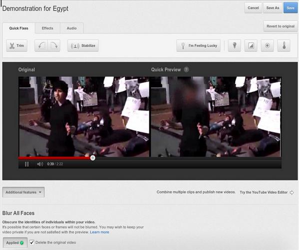 YouTube: floutage les visages d'une vidéo possible