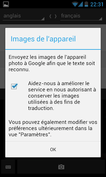 Google Traduction sur smartphone se sert de l'appareil photo