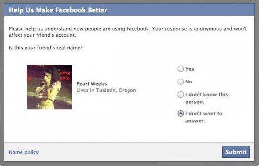 Facebook demande à ses membres de dénoncer les pseudonymes