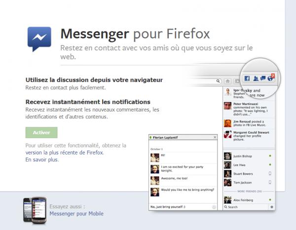 Firefox 17 s'intègre avec Facebook