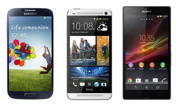 Samsung Galaxy S4 Vs HTC One Vs sony Experia Z