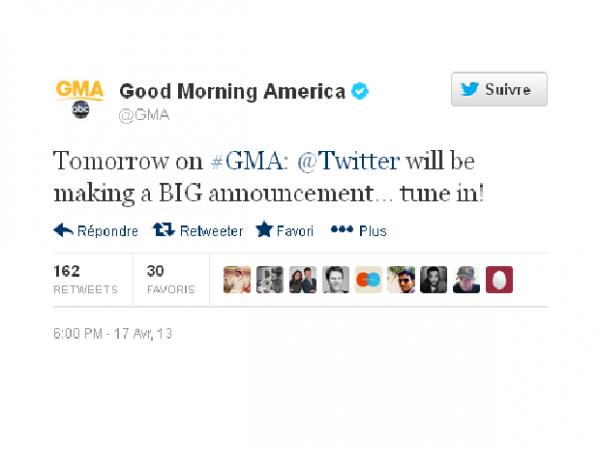 """Twitter sur le point d'annoncer une """"grande"""" nouvelle à la TV américaine"""