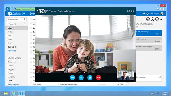 Skype dans Outlook.com, ça c'est fait