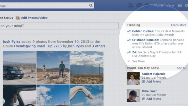 Facebook ajoute une liste de sujets tendances copiée sur Twitter