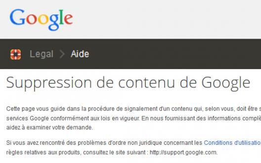 Google permet les demandes de suppression de résultats
