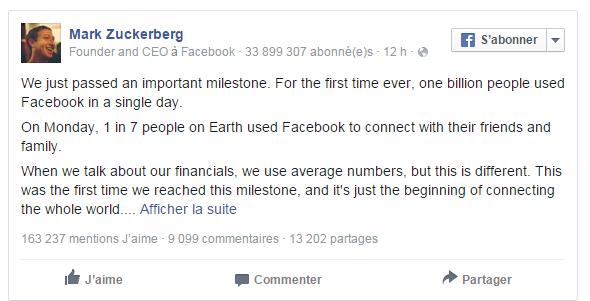 Facebook passe le seuil du milliard d'utilisateurs en un seul jour