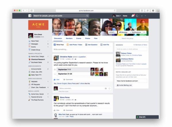 Facebook at work se dévoile